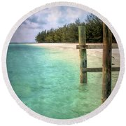 Private Out Island In The Bahamas Round Beach Towel