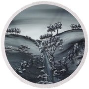 Round Beach Towel featuring the painting Private Road by Kenneth Clarke