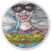 Round Beach Towel featuring the painting Probably Reincarnated by Fabrizio Cassetta