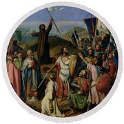 Procession Of Crusaders Around Jerusalem Round Beach Towel by Jean Victor Schnetz