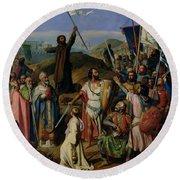 Procession Of Crusaders Around Jerusalem Round Beach Towel by Jean Victor Schnetz