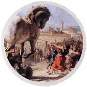 Procession Of The Trojan Horse  Round Beach Towel