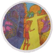 Prodigal Son Parable Painting By Bertram Poole Round Beach Towel by Thomas Bertram POOLE