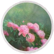 Round Beach Towel featuring the mixed media Profuse Peony Blossoms by Nancy Lee Moran