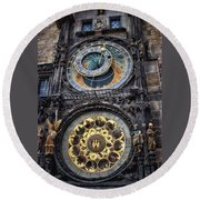 Progue Astronomical Clock Round Beach Towel by Sheila Mcdonald