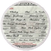Round Beach Towel featuring the photograph Prohibition Prescription Certificate Speakeasy by David Patterson