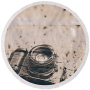 Projection Of A Landscape Photographer Round Beach Towel