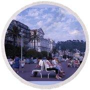 Promenade Des Anglais, Nice, France Round Beach Towel