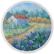Promenade In Provence Round Beach Towel
