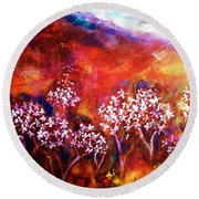 Round Beach Towel featuring the painting Promise by Winsome Gunning