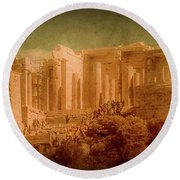 Round Beach Towel featuring the photograph Athens, Greece - Propylaia by Mark Forte