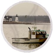 Prospect Harbor Lighthouse Round Beach Towel