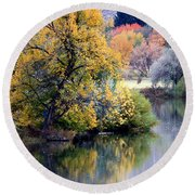 Prosser Autumn River Reflection Round Beach Towel