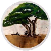 Round Beach Towel featuring the painting Protected by Patti Ferron