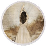Protection Painted Lady Round Beach Towel