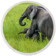 Protective Elephant Mom Round Beach Towel