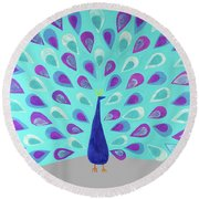 Proud As A Peacock Round Beach Towel