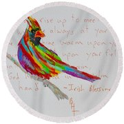 Proud Cardinal With Blessing Round Beach Towel by Beverley Harper Tinsley