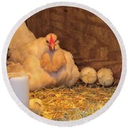 Round Beach Towel featuring the photograph Proud Mother Hen by Jeanette Oberholtzer