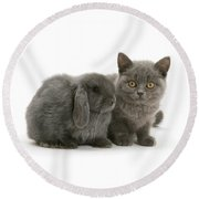 Proud Of My Grey Hare Round Beach Towel