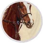 Proud - Portrait Of A Thoroughbred Horse Round Beach Towel