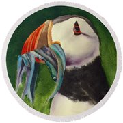 Proud Puffin Round Beach Towel