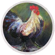 Proud Rooster Round Beach Towel