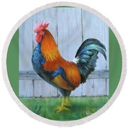 Round Beach Towel featuring the painting Proud Rooster by Oz Freedgood