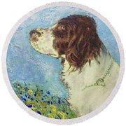 Proud Spaniel Round Beach Towel