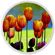 Proud Tulips Round Beach Towel by Michael Cinnamond