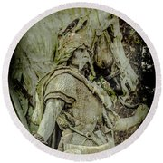 Paris, France - Proud Warrior And The Pigeon Round Beach Towel