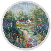 Provence Path Round Beach Towel