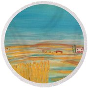 Provence Wheat Harvest Round Beach Towel by Sharyn Winters