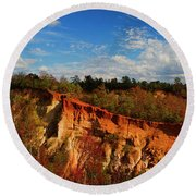 Providence Canyon Panorama Round Beach Towel
