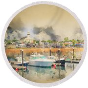 Provincetown Harbor Cape Cod Round Beach Towel by Jack Torcello