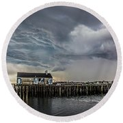 Round Beach Towel featuring the photograph Provincetown Storm, Cabrals Wharf by Charles Harden