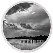 Round Beach Towel featuring the photograph Provincetown Storm by Charles Harden