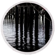 Round Beach Towel featuring the photograph Provincetown Wharf Reflections by Charles Harden