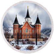 Provo City Center Temple Lds Large Canvas Art, Canvas Print, Large Art, Large Wall Decor, Home Decor Round Beach Towel by David Millenheft