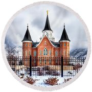 Provo City Center Temple Canvas Print, Photographic Print, Art Print, Framed Print, Greeting Card, Round Beach Towel