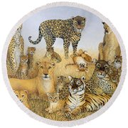 The Big Cats Round Beach Towel by Pat Scott