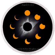 Psalm Nineteen Solar Eclipse Round Beach Towel