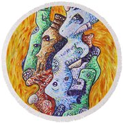 Psychedelic Animals Round Beach Towel