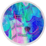 Psychedelic Blue Shoes Shopping Is Fun Abstract Square 4f Round Beach Towel