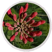 Round Beach Towel featuring the photograph Psychedelic Bud by Jean Noren