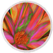 Round Beach Towel featuring the photograph Psychedelic Daisy By Kaye Menner by Kaye Menner