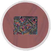 Psychedelic Dragons Round Beach Towel by Megan Walsh