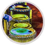 Psychedelic Drums Round Beach Towel