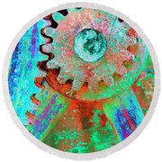 Psychedelic Gears Round Beach Towel by Phyllis Denton