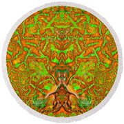 Psychedelic Green Round Beach Towel